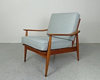 mid century Danish modern grey blue tweed oak framed lounge chair