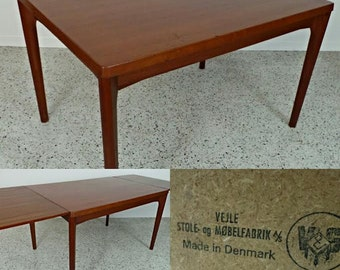 mid century Danish modern Vejle Stole teak large expanding dining table with hide leafs