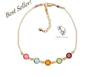 Birthstone Bracelet, Mothers Bracelet, Gold Birthstone Bracelet, Grandmother Bracelet, Birthstone Gifts, Gold Bracelet, Mothers Jewelry