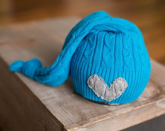 Newborn Upcycled Hat READY TO SHIP Cable Knit Sleepy time Blue Stocking Cap with Gray Heart, Newborn Photography Prop, Newborn Boy Hats