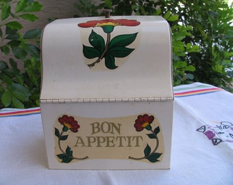 Vintage Folk Art Red Flower Metal Recipe Box - Kitschy Kitchen