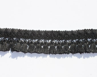 Vintage Black Fringe Trim, Purse Lamp Curtain Trim, Sewing trim 2 3/4 yards