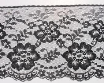 Vintage Black Wide Lace Trim, 6 inch Black Flower Floral Lace Trim, 9 yards