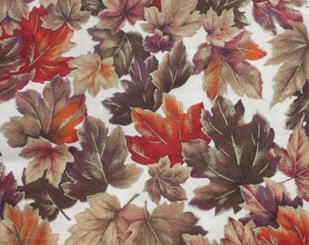 Vintage Orange Brown Fall Leaf Cotton Fabric, Leaves Autumn Sewing Quilting Material Fabric