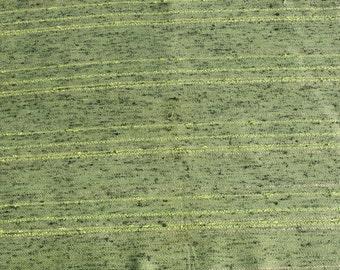 Vintage Woven Avocado Green Fabric, Gold Green Fabric Retro Mod Pillow Fabric, 3/4 yards