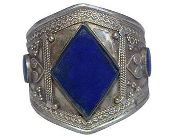 Blue Lapis Silver Tribal Cuff