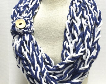 Kay's Crochet Arm Knit Crochet Bulky Rope Scarf In Nautical Navy Blue and White with Button