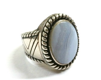 Carolyn Pollack Light Blue Lace Agate Sterling Silver Ring 7