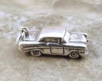 Sterling Silver '57 Chevy Car Charm on Sterling Silver Split Ring - 1126