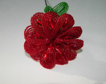 Garnet Red French Beaded Flower
