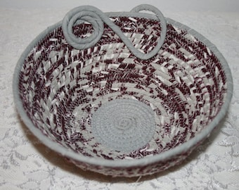 Texas A&M ROPE BOWL Perfect for a Desk Home Decor Upcycled close line rope Great Catch All Basket for any Room/Round 7 1/2in Top x 4in Base