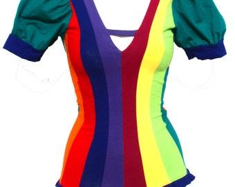 Rainbow puff sleeved circus leotard / playsuit - fairylove