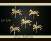 30 Gold Glitter Carousel Horse Die Cuts Punches For Scrapbook Cards Party Confetti Crafts Embellishments Carousel Confetti