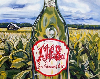 """Green, yellows, Ale 8 1 in tobacco field with Mail Pouch Barn in the background """"Old Timer Juice"""""""