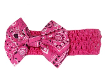 Baby Bandana Headband, Pink Bandana Headband, Cowgirl Headband, Country Baby Headband, Baby Head Band, Pink Headband, Bandana Hair Bow