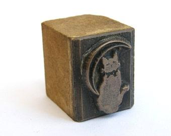 Antique-Bronze Mounted Wax Seal/Wax Stamp Intaglio-Cat Under A Sickle Moon-circa 1900