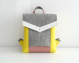 Yellow Gray White Pink Wool Felt Genuine Leather Backpack