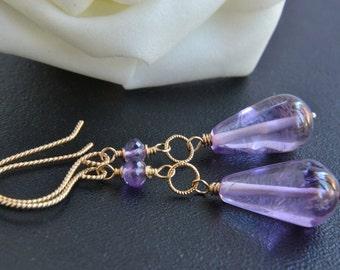 Amethyst Earrings, 14K Gold Filled Jewelry, February Birthstone, Purple Amethyst, Handmade, Happy Cats Designs