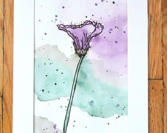 Purple Watercolor Flower, 5X7 in.