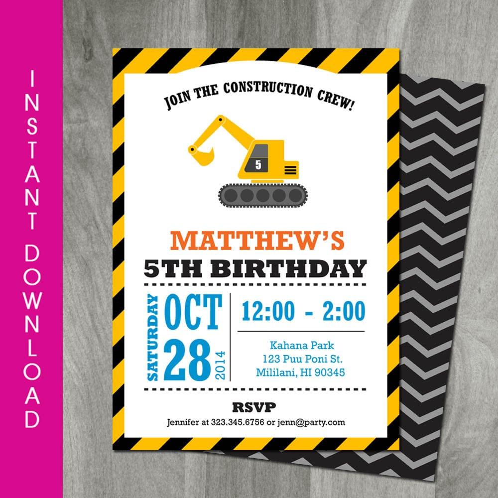 Construction Birthday Invitation Self Editable INSTANT