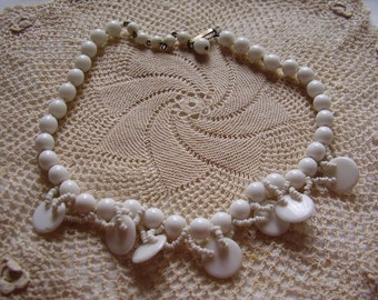 Vintage White Glass Bead Choker Necklace