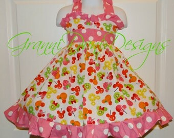 Disney Minnie mouse fruit halter twirl dress ruffle baby toddler girl 6 12 18 24 months 2t 3t 4t 5t 6 7 8 summer polka dot pink lime green