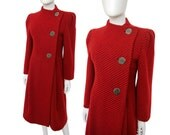 PAULINE TRIGÈRE 1980s Vintage Red Wool Coat Enamel Signature Buttons I. Magnin Us Size 6 Small