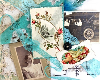 Vintage Supplies*Aqua Inspiration Kit*Postcard ..Black and White Photos.. Doily..Hand Towel..Hanky