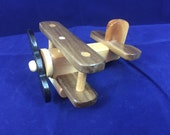 Wood Toy Airplane FREE SHIPPING in U.S. Handmade Wooden Toy Bi Plane Natural Gloss Finish Toddler Nursery Decor or Photo Prop  # 1506