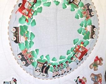 Holiday Express Tree Skirt Fabric Panel Childrens Train Set Daisy Kingdom 1986 Christmas Tree Skirt Holiday Decor