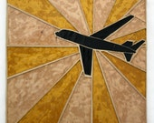 Airplane in Flight Stained Glass Mosaic (Sunburst Series)