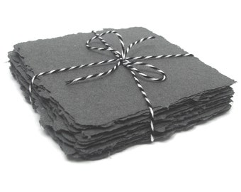 Graphite 4x4 square handmade papers, recycled cotton, deckle edge, 10 sheets