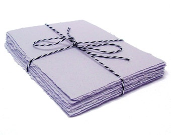 Lavender handmade paper, recycled, deckle edge, 10 small sheets, 5.5 x 4.25 inch