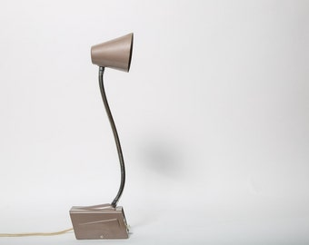 Desk Lamp by Dazor Industrial Mid-Century Flexible Neck Beige 1950s