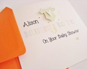 Handmade Personalised Baby Grow Baby Shower Mum to be Card
