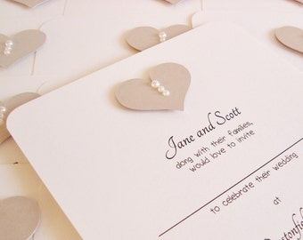 Personalised Handmade Diamanté/Pearl Heart Wedding Invitation Sample