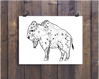 Bison Art, Buffalo Art, Pen and Ink Art, Black and White Art, Drawing, Wall Art, Illustration Print, Nursery Art, Wall Decor, Artwork, Ink