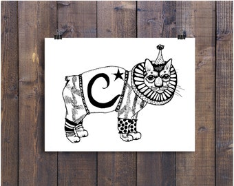 Cat Art, Childrens Art, Nursery Art, Illustration Print, Art Print, 5 x 7 Art,  Circus Art, Animal Drawing, Pen and Ink Art, Black and White