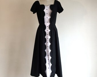 Vintage 1950s dress  - black and white tuxedo - 1950s cotton dress - vintage clothing
