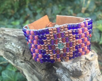 Loomed leather cuff