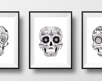 Sugar Skulls - Set of 3