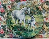 Vintage Peek Frean Horse and Foal Tin Kitsch Cute Horse