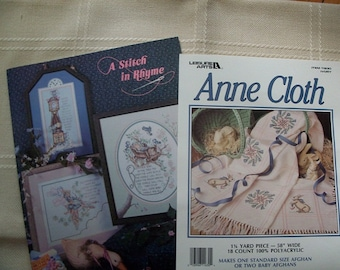 1 1/4 Yds Anne Cloth by Leisure Arts,A Stitch In Rhyme Cross Stitch Book - FREE SHIPPING