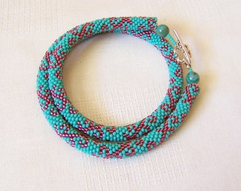 Beads crochet rope necklace - Beadwork necklace - Seed beads jewelry - Elegant turquoise  and pink necklace