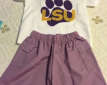 Boys LSU shorts set
