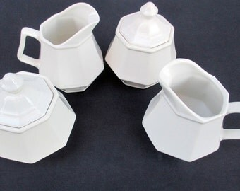 Homer Laughlin China Colonial White Pattern Dover Shape - Creamer and Sugar Bowl with Lid