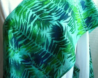 Green Fern Infinity Scarf. 11x76 inch Silk Circle Scarf. Hand Dyed, Hand Printed Palm Leaves, Green, Yellow, and Blue. Unique