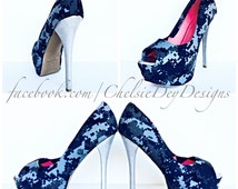 Navy High Heels - Military Blue Fatigue Digital Camo Canvas Pump High Heels - U.S. Navy Digi Wedding Shoes