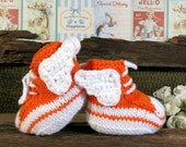Knit Baby Booties Angel Wings Hi Tops Orange White Toddler Shoes Baby Shower Gift Photo Prop Boots Runners Sneakers Australia