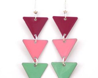 "Earrings ""Pennant magenta pink aqua"""